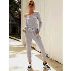 Off Shoulder Contrast Drawstring Grey Jumpsuit